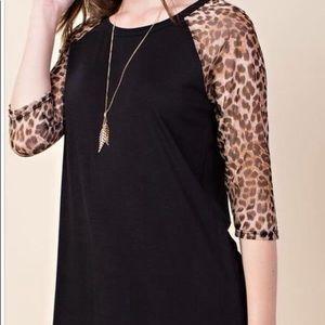 Tops - Leopard sleeve tunic